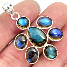 16.49cts natural blue labradorite 925 sterling silver holy cross pendant r35192