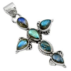 9.12cts natural blue labradorite 925 sterling silver holy cross pendant r47958