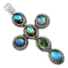 14.15cts natural blue labradorite 925 sterling silver holy cross pendant r48017