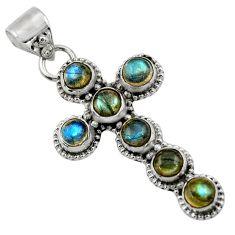 6.77cts natural blue labradorite 925 sterling silver holy cross pendant r48019