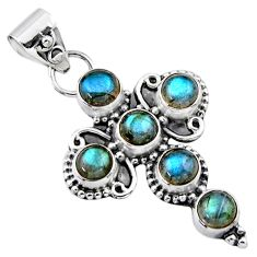 5.54cts natural blue labradorite 925 sterling silver holy cross pendant r55833