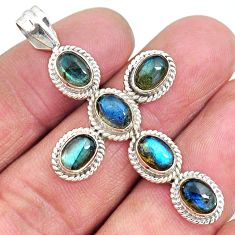 6.80cts natural blue labradorite 925 sterling silver holy cross pendant t10680