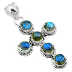 5.11cts natural blue labradorite 925 sterling silver holy cross pendant t52974
