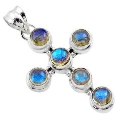 5.43cts natural blue labradorite 925 sterling silver holy cross pendant t52975