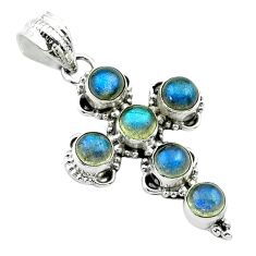 5.57cts natural blue labradorite 925 sterling silver holy cross pendant t52983