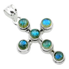 5.81cts natural blue labradorite 925 sterling silver holy cross pendant t52985