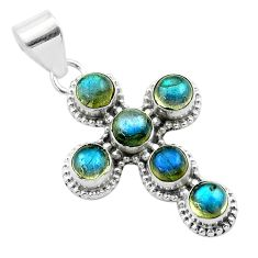 5.76cts natural blue labradorite 925 sterling silver holy cross pendant t52989