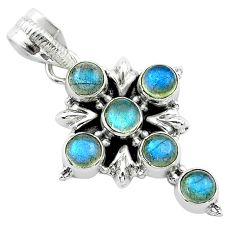 5.35cts natural blue labradorite 925 sterling silver holy cross pendant t52990