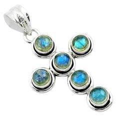 5.53cts natural blue labradorite 925 sterling silver holy cross pendant t52992