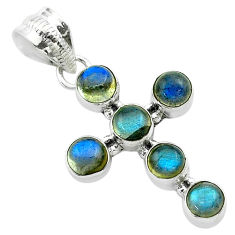 5.29cts natural blue labradorite 925 sterling silver holy cross pendant t52993
