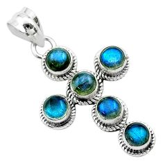 5.36cts natural blue labradorite 925 sterling silver holy cross pendant t52996