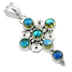 5.57cts natural blue labradorite 925 sterling silver holy cross pendant t52998