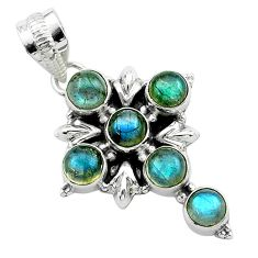 5.38cts natural blue labradorite 925 sterling silver holy cross pendant t53000