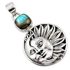 5.34cts natural blue labradorite 925 sterling silver moon face pendant r52818