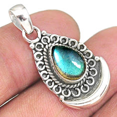 2.44cts natural blue labradorite 925 sterling silver moon pendant jewelry r89400