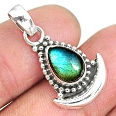 2.62cts natural blue labradorite 925 sterling silver moon pendant jewelry r89454