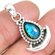 2.54cts natural blue labradorite 925 sterling silver moon pendant jewelry r89456