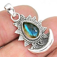2.62cts natural blue labradorite 925 sterling silver moon pendant jewelry r89478