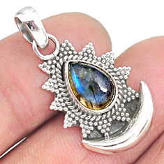 2.74cts natural blue labradorite 925 sterling silver moon pendant jewelry r89479