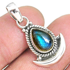 2.65cts natural blue labradorite 925 sterling silver moon pendant jewelry r89520