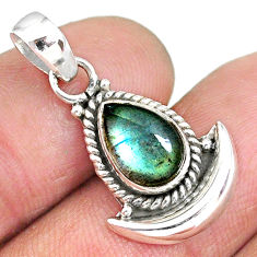 2.66cts natural blue labradorite 925 sterling silver moon pendant jewelry r89539