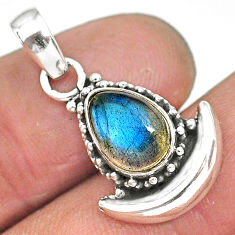 2.86cts natural blue labradorite 925 sterling silver moon pendant jewelry r89575
