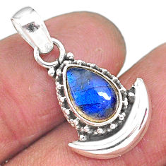 2.60cts natural blue labradorite 925 sterling silver moon pendant jewelry r89579
