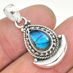 2.62cts natural blue labradorite 925 sterling silver moon pendant jewelry r89618