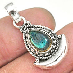 2.74cts natural blue labradorite 925 sterling silver moon pendant jewelry r89619