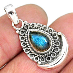 2.44cts natural blue labradorite 925 sterling silver moon pendant r89420