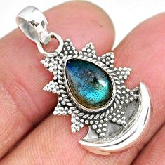 2.52cts natural blue labradorite 925 sterling silver moon pendant r89496