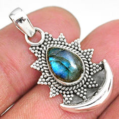 2.90cts natural blue labradorite 925 sterling silver moon pendant r89498