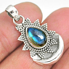 2.77cts natural blue labradorite 925 sterling silver moon pendant r89499
