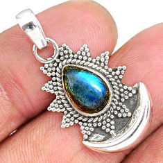 2.78cts natural blue labradorite 925 sterling silver moon pendant r89500