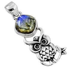 5.11cts natural blue labradorite 925 sterling silver owl pendant jewelry r52939