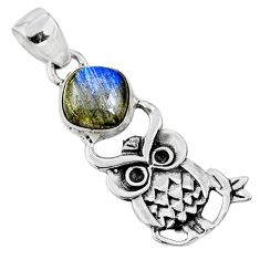 5.11cts natural blue labradorite 925 sterling silver owl pendant jewelry r52940