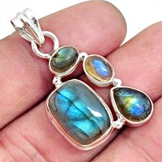 10.02cts natural blue labradorite 925 sterling silver pendant jewelry d42537