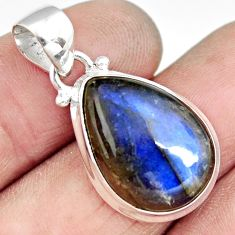 13.70cts natural blue labradorite 925 sterling silver pendant jewelry r19637