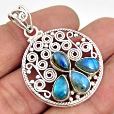7.99cts natural blue labradorite 925 sterling silver pendant jewelry r20609