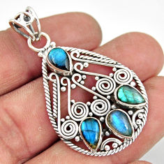 7.32cts natural blue labradorite 925 sterling silver pendant jewelry r20613
