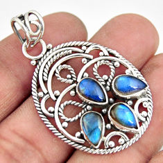 7.13cts natural blue labradorite 925 sterling silver pendant jewelry r20617