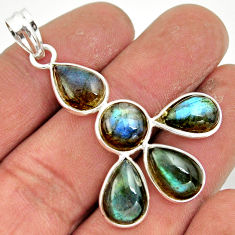 13.18cts natural blue labradorite 925 sterling silver pendant jewelry r42031