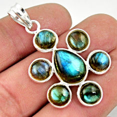 13.10cts natural blue labradorite 925 sterling silver pendant jewelry r42036