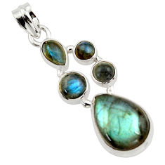 14.12cts natural blue labradorite 925 sterling silver pendant jewelry r43083