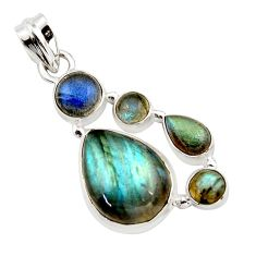 14.43cts natural blue labradorite 925 sterling silver pendant jewelry r43085