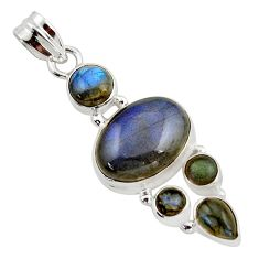 14.23cts natural blue labradorite 925 sterling silver pendant jewelry r43086