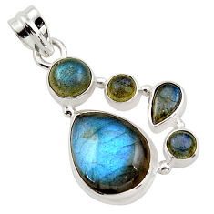 14.26cts natural blue labradorite 925 sterling silver pendant jewelry r43088