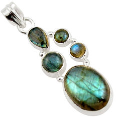 14.89cts natural blue labradorite 925 sterling silver pendant jewelry r43091