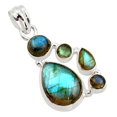 14.39cts natural blue labradorite 925 sterling silver pendant jewelry r43092