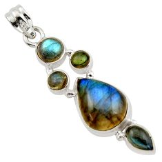 14.83cts natural blue labradorite 925 sterling silver pendant jewelry r43093